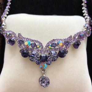 Jeweled Necklace & Earrings Set - Purple